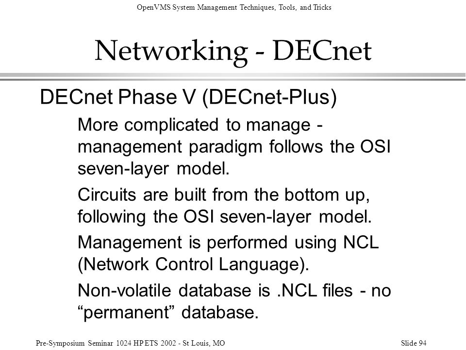Networking - DECnet DECnet Phase V (DECnet-Plus)