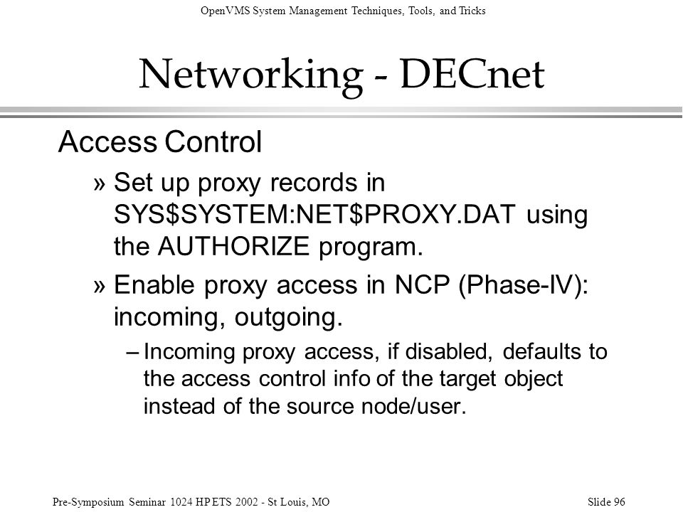 Networking - DECnet Access Control