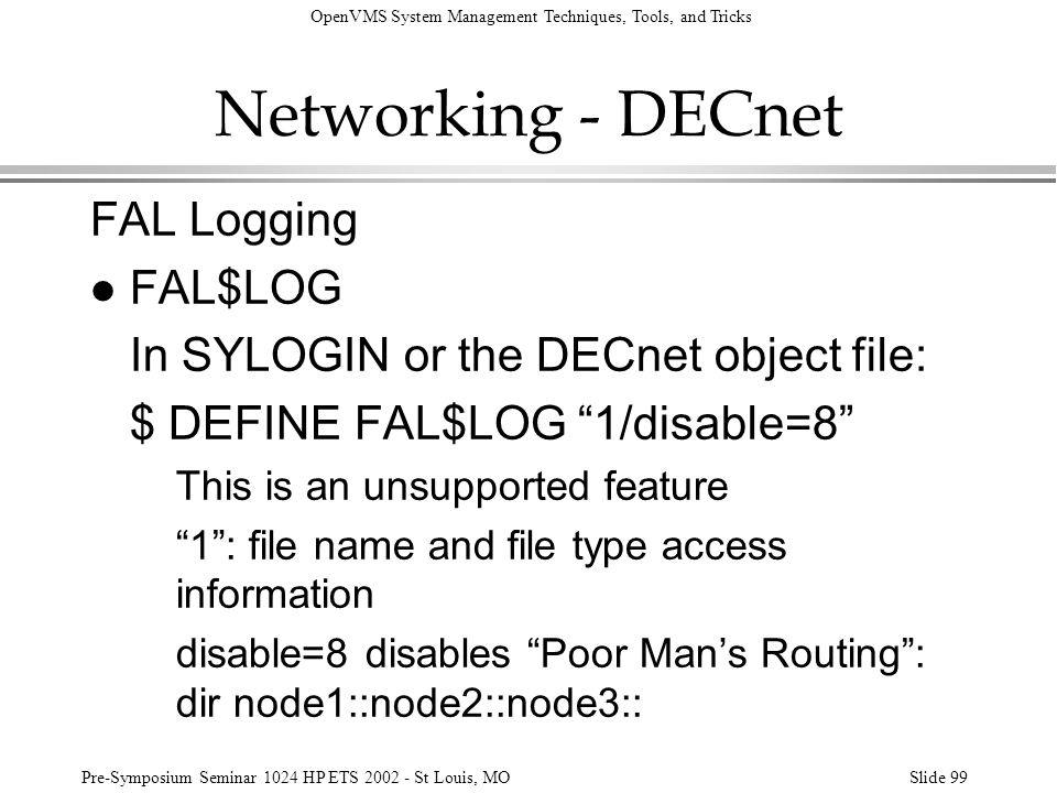 Networking - DECnet FAL Logging FAL$LOG