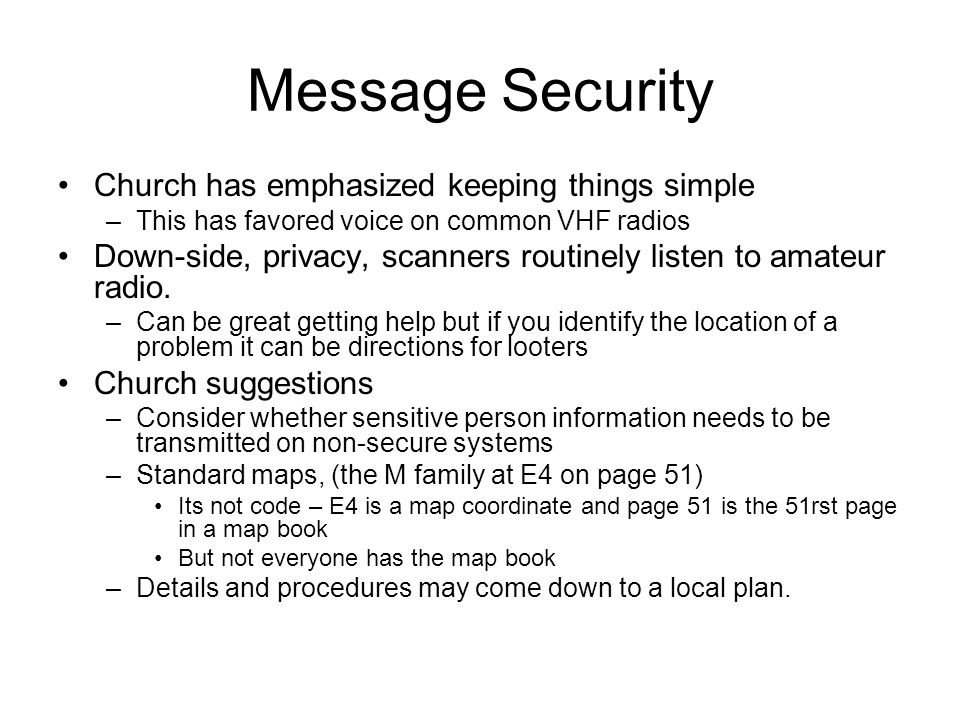 Message Security Church has emphasized keeping things simple