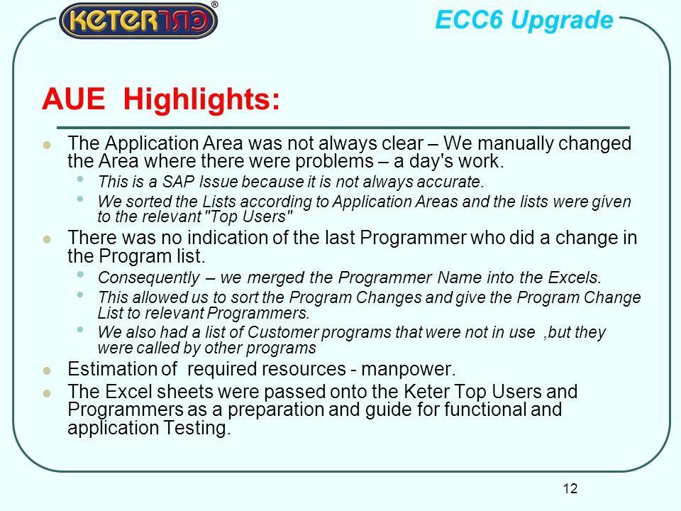 AUE Highlights: ECC6 Upgrade