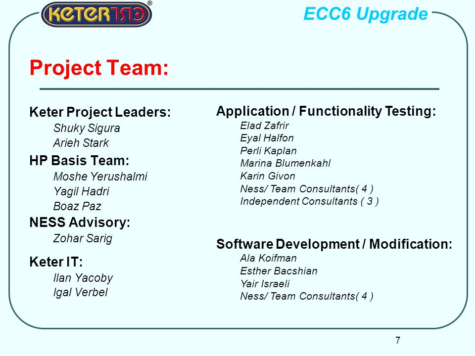 Project Team: ECC6 Upgrade Application / Functionality Testing:
