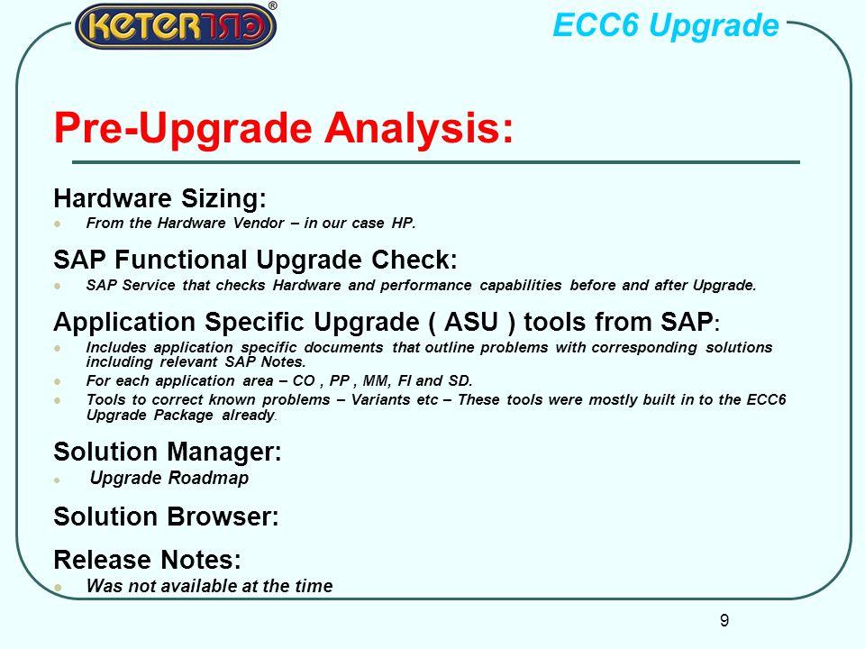 Pre-Upgrade Analysis: