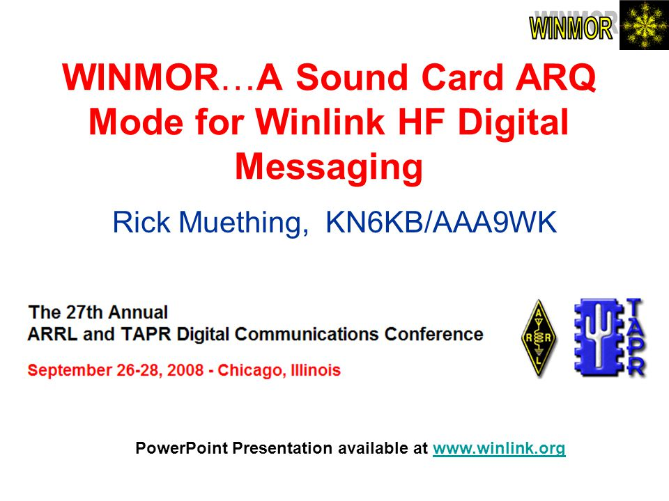 WINMOR…A Sound Card ARQ Mode for Winlink HF Digital Messaging