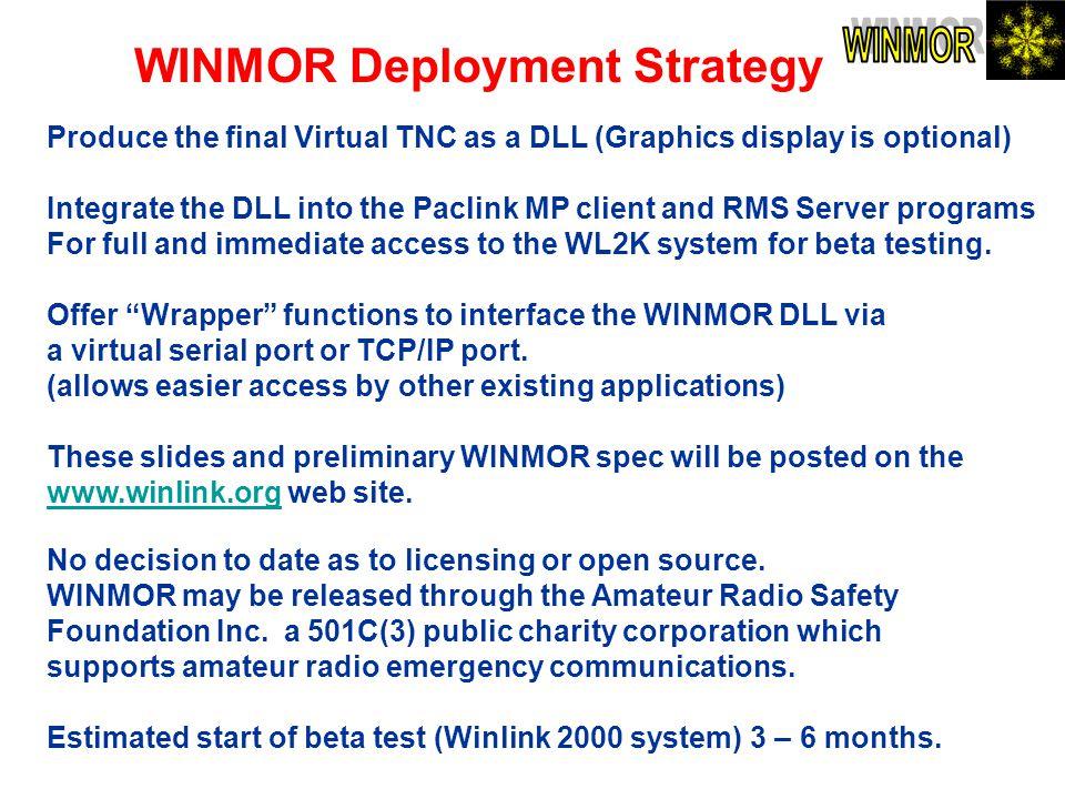 WINMOR Deployment Strategy