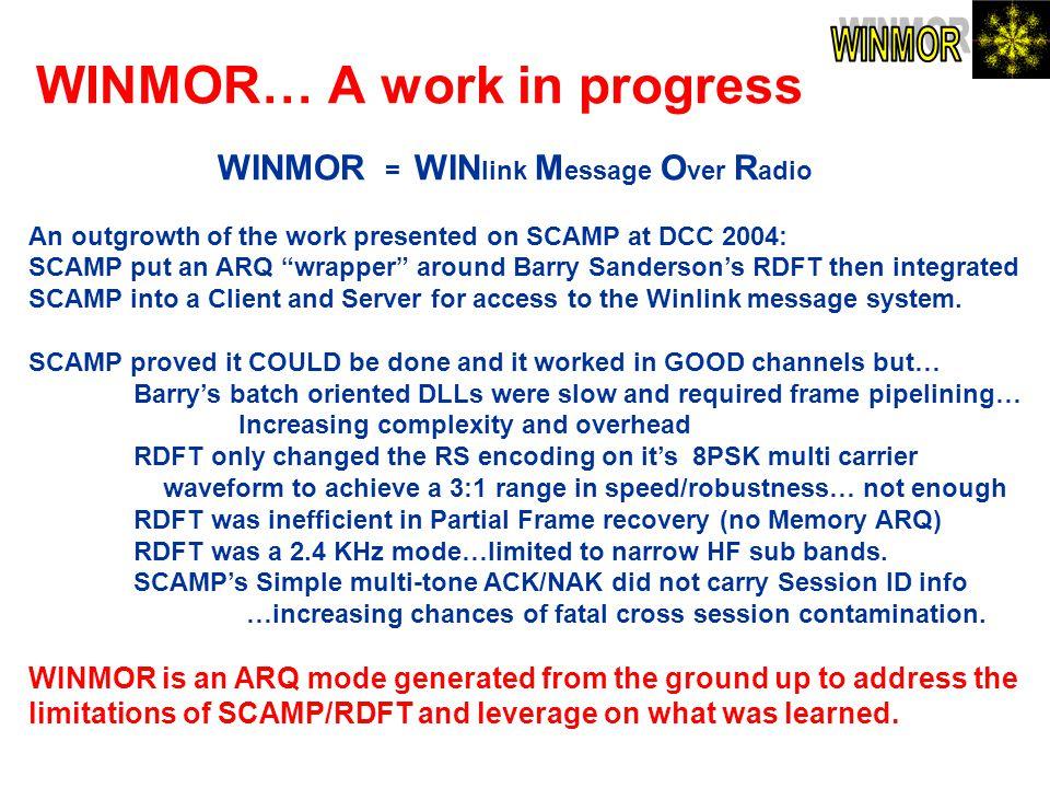 WINMOR… A work in progress