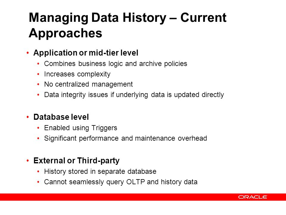 Managing Data History – Current Approaches