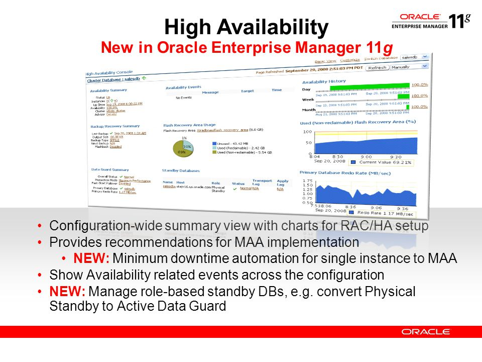 High Availability New in Oracle Enterprise Manager 11g