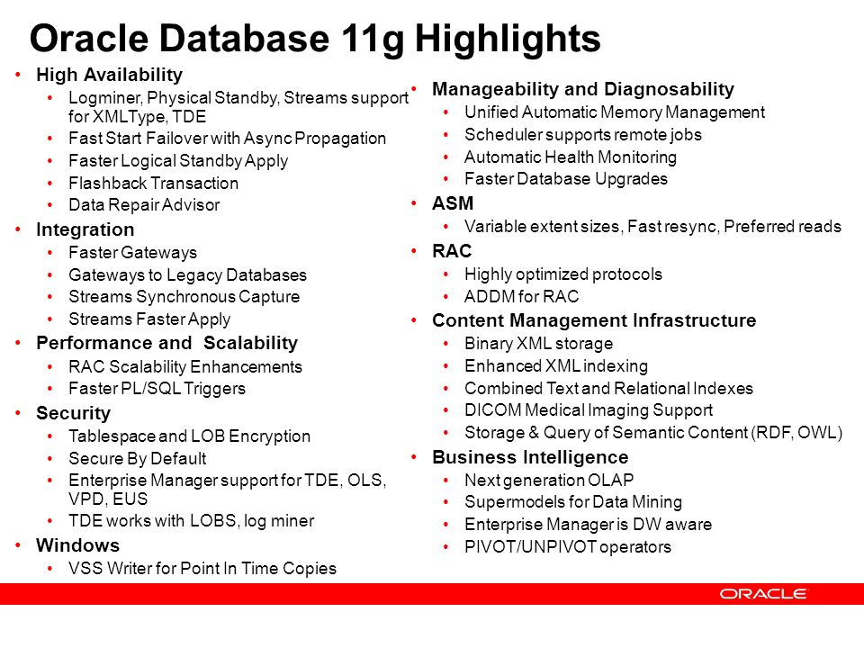 Oracle Database 11g Highlights