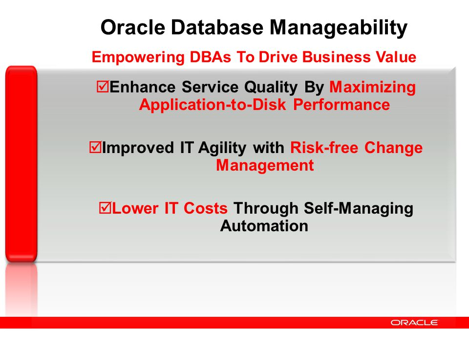 Oracle Database Manageability