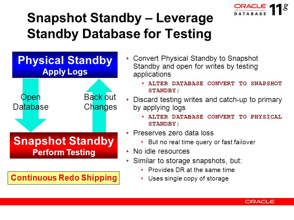 Snapshot Standby – Leverage Standby Database for Testing