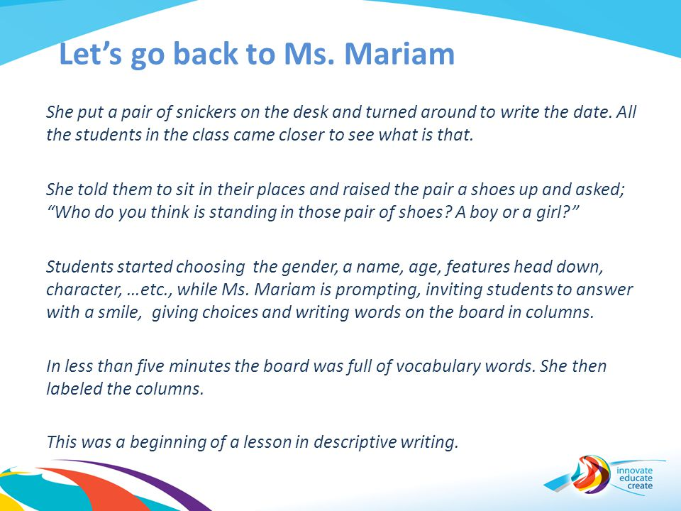 Let's go back to Ms. Mariam