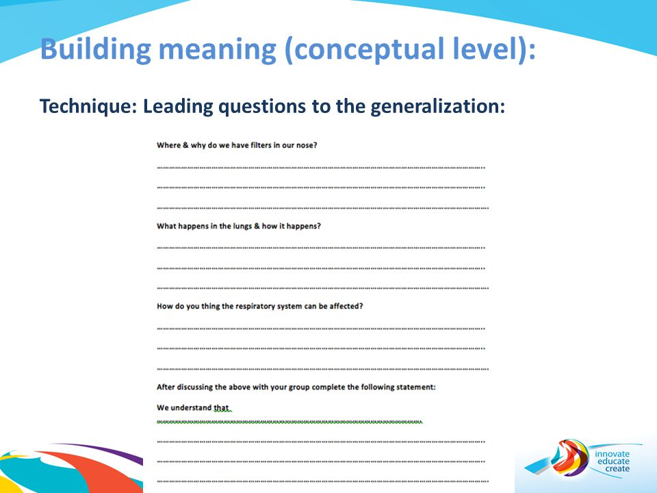 Building meaning (conceptual level):