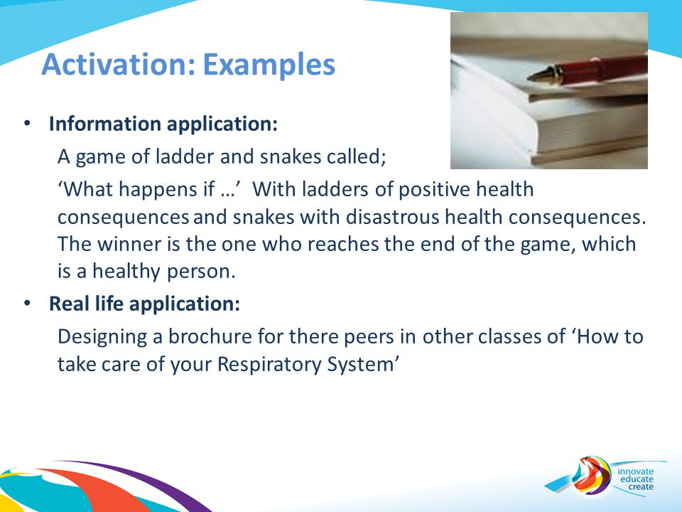 Activation: Examples Information application: