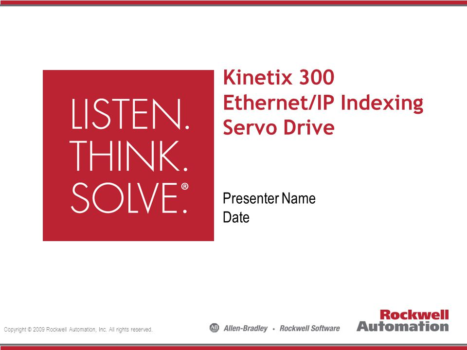 Kinetix 300 Ethernet/IP Indexing Servo Drive