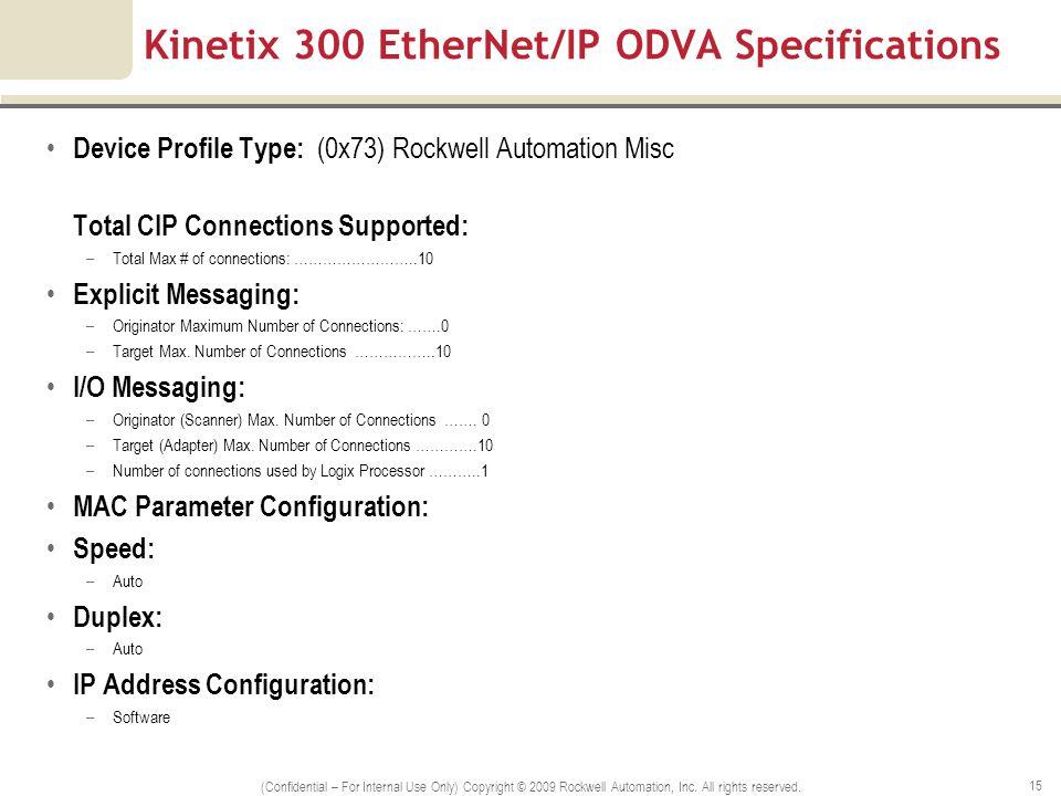 Kinetix 300 EtherNet/IP ODVA Specifications