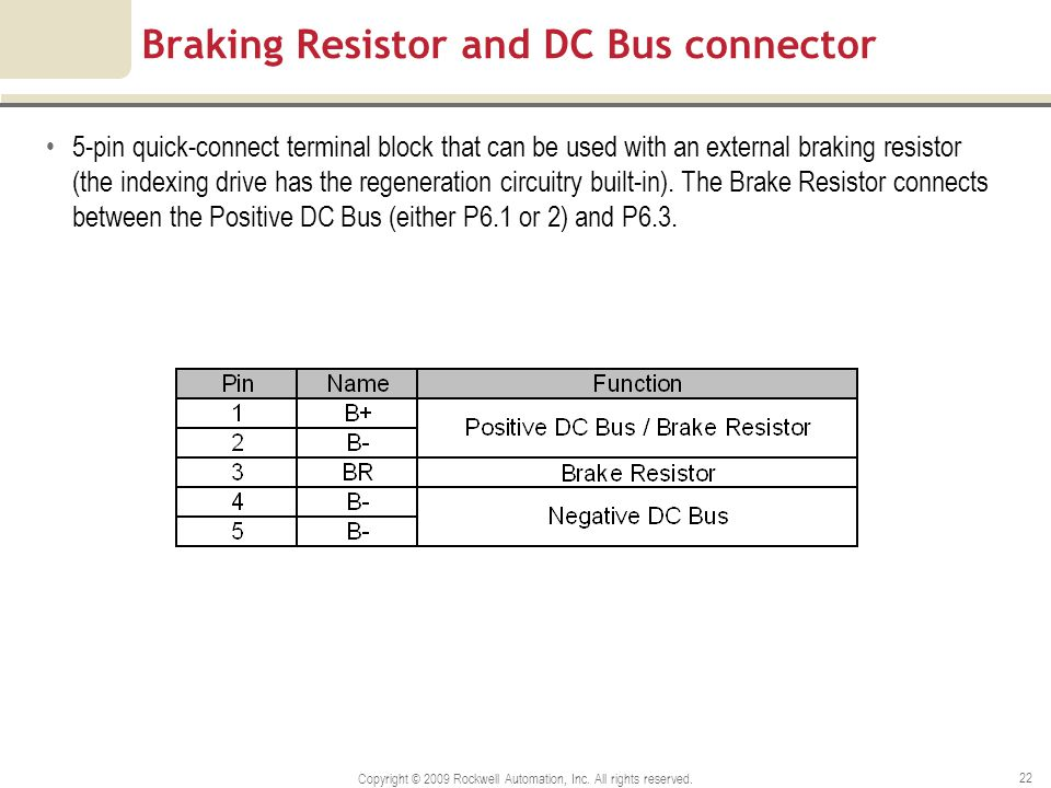Braking Resistor and DC Bus connector