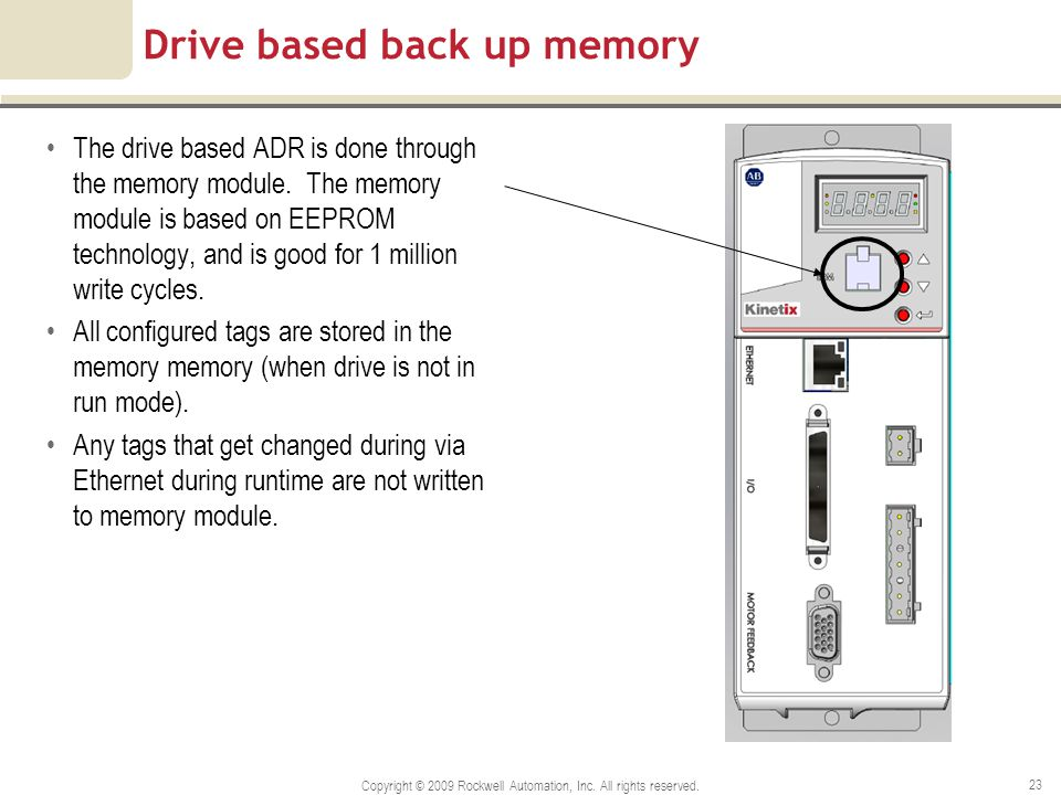 Drive based back up memory