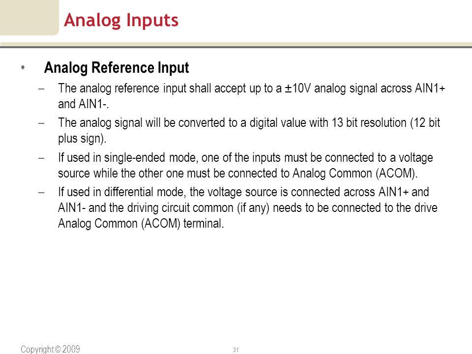 Analog Inputs Analog Reference Input