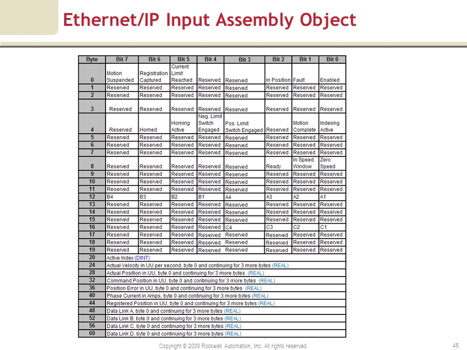 Ethernet/IP Input Assembly Object