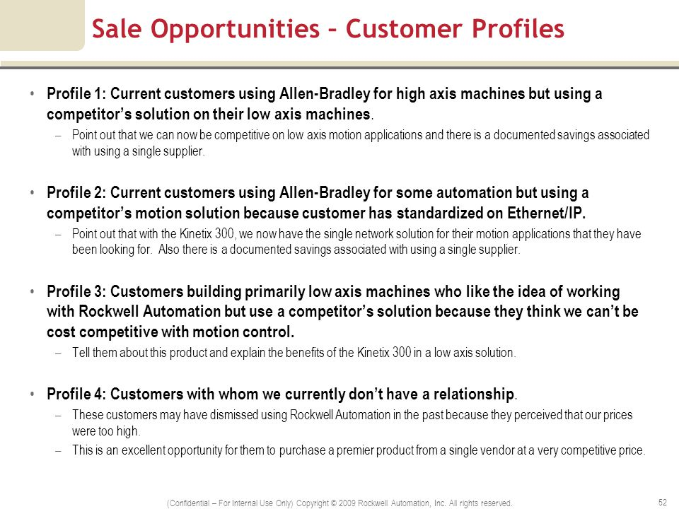 Sale Opportunities – Customer Profiles