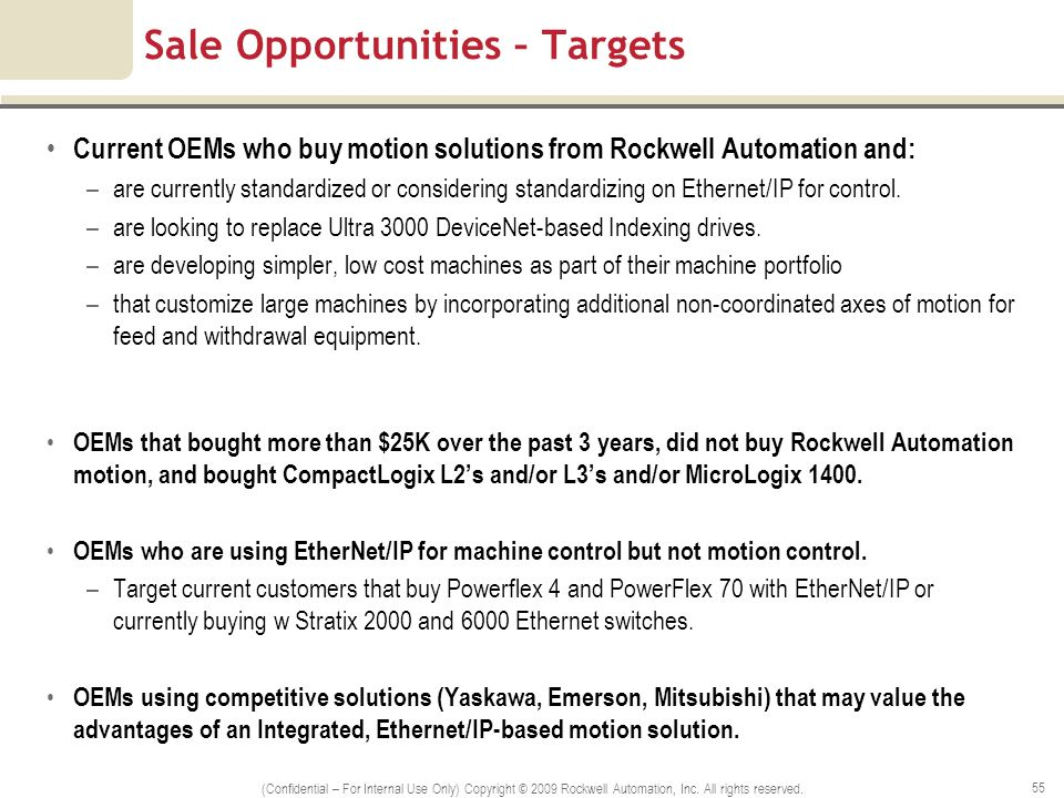 Sale Opportunities – Targets