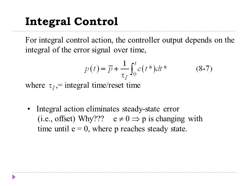 Integral Control Chapter 8
