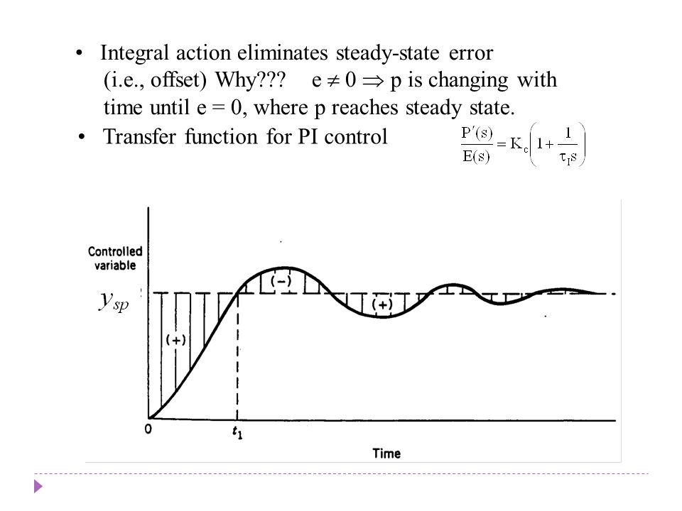 Chapter 8 Chapter 8 Integral action eliminates steady-state error