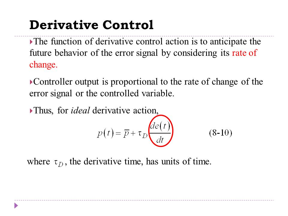 Derivative Control Chapter 8 Chapter 8