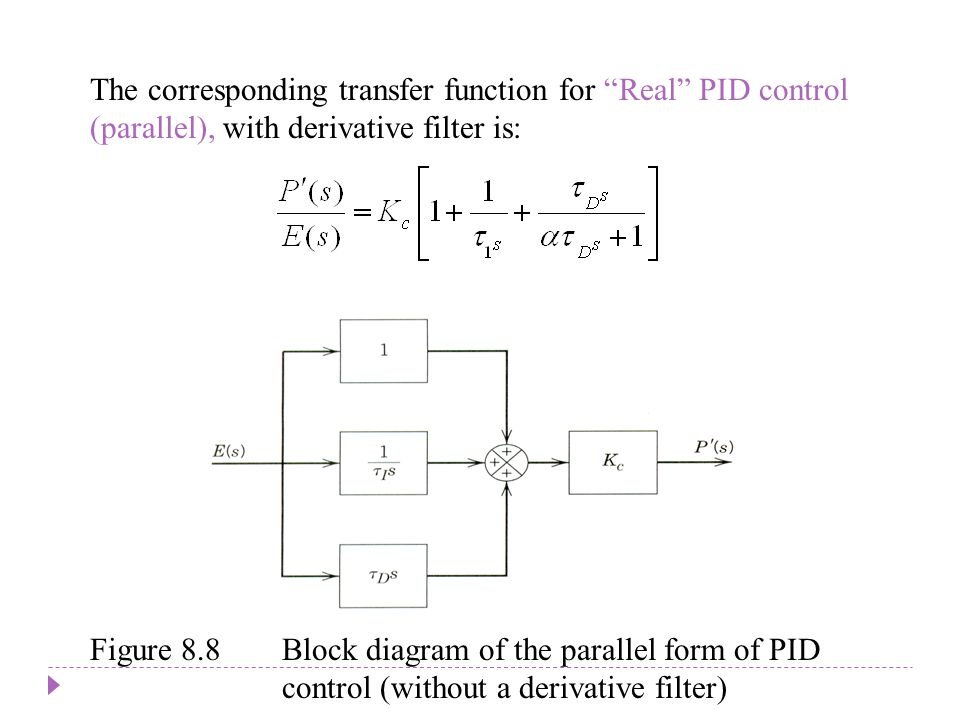 The corresponding transfer function for Real PID control (parallel), with derivative filter is: