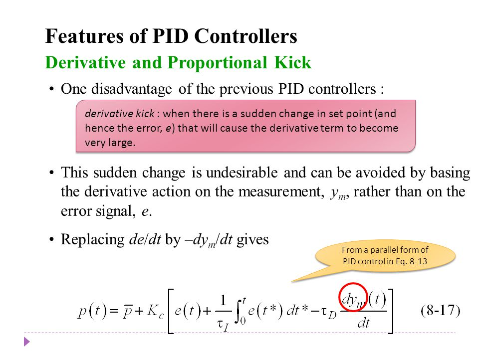 From a parallel form of PID control in Eq. 8-13