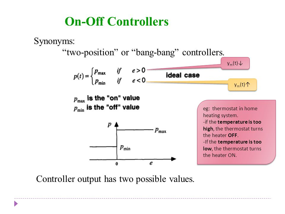 On-Off Controllers Chapter 8 Chapter 8 Synonyms:
