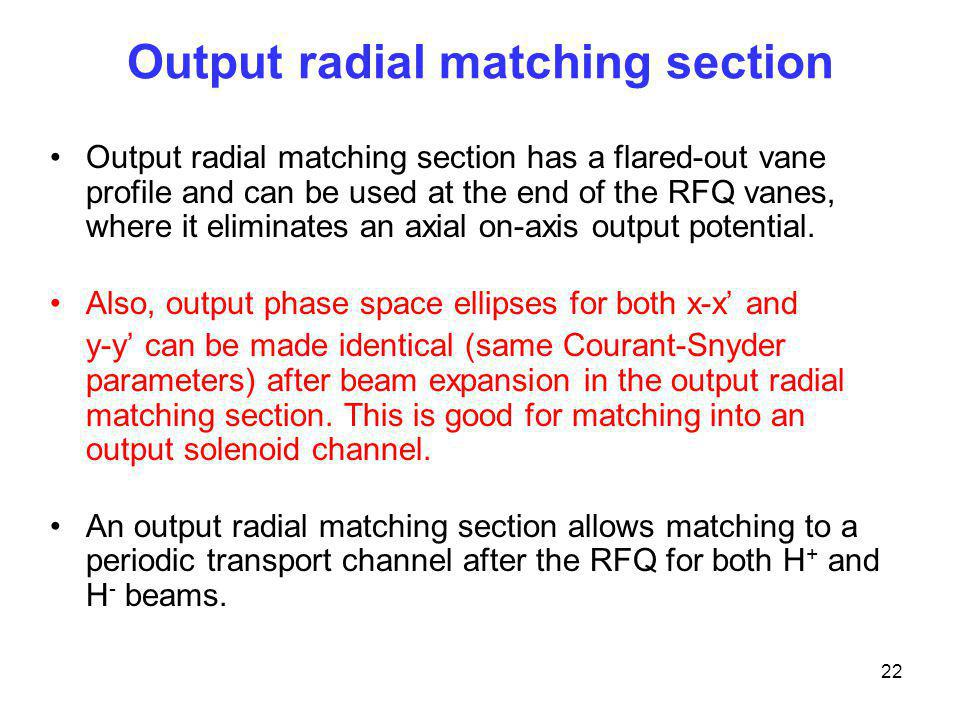 Output radial matching section