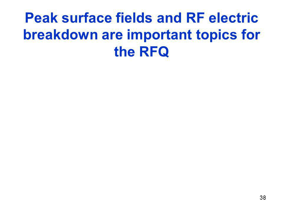 Peak surface fields and RF electric breakdown are important topics for the RFQ