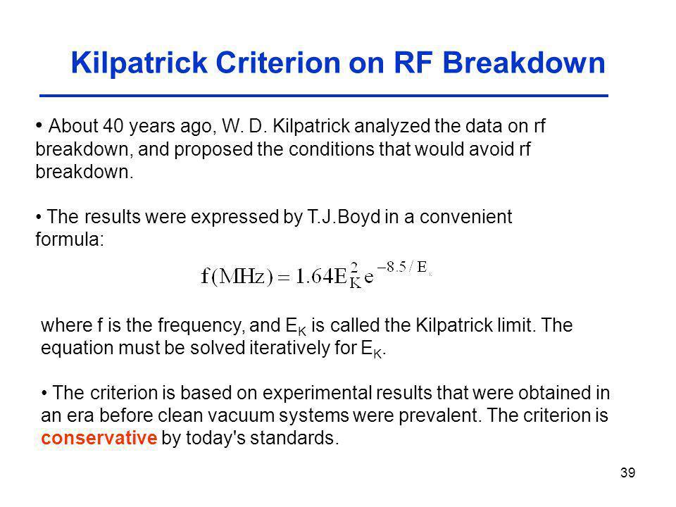 Kilpatrick Criterion on RF Breakdown