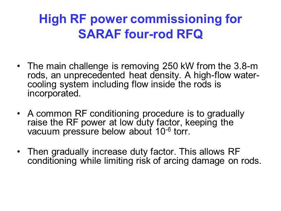 High RF power commissioning for SARAF four-rod RFQ