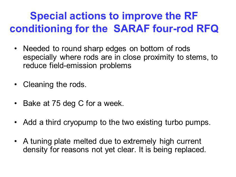 Special actions to improve the RF conditioning for the SARAF four-rod RFQ
