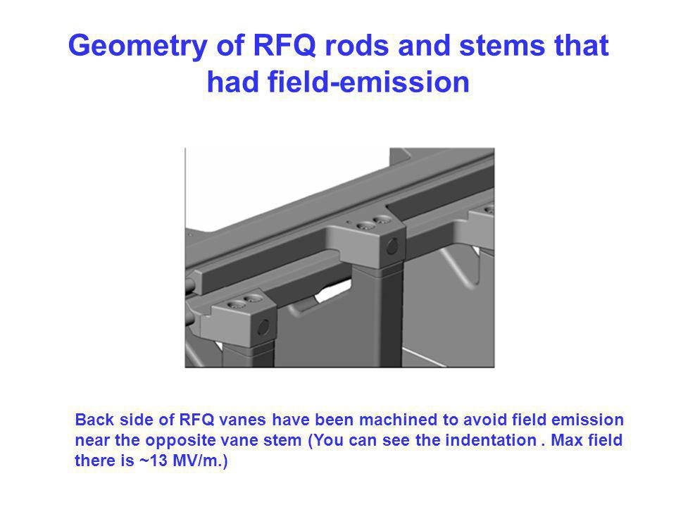 Geometry of RFQ rods and stems that had field-emission