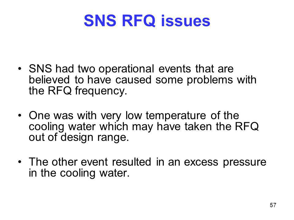 SNS RFQ issues SNS had two operational events that are believed to have caused some problems with the RFQ frequency.