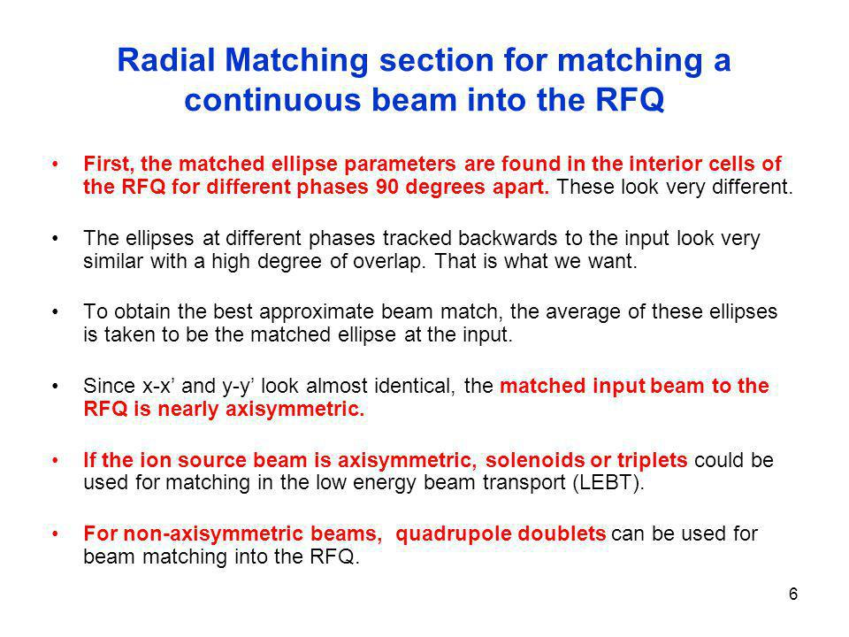 Radial Matching section for matching a continuous beam into the RFQ