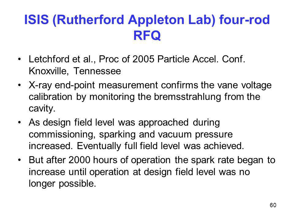 ISIS (Rutherford Appleton Lab) four-rod RFQ