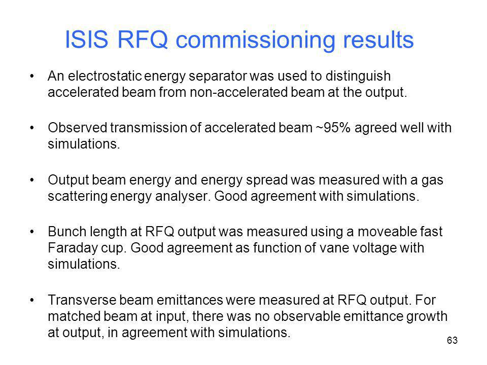 ISIS RFQ commissioning results