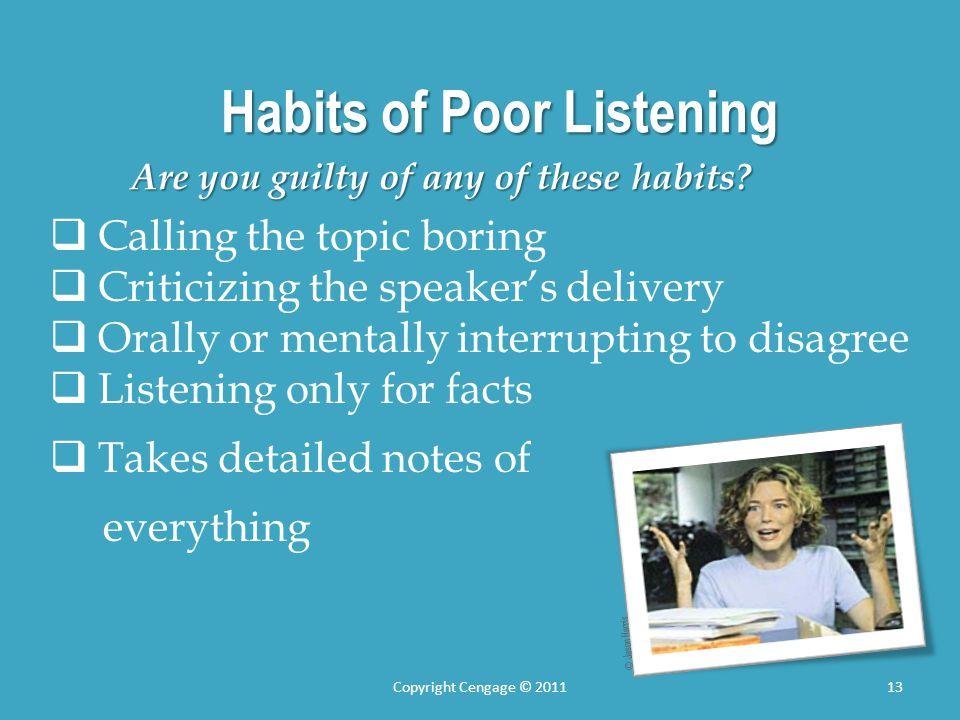 Habits of Poor Listening