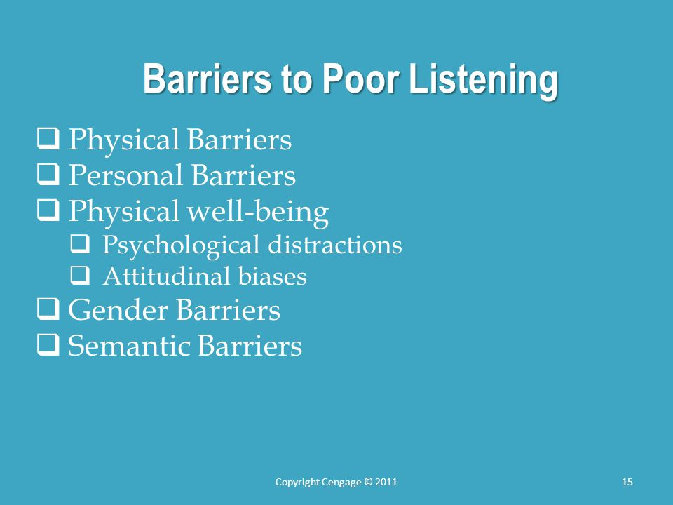 Barriers to Poor Listening