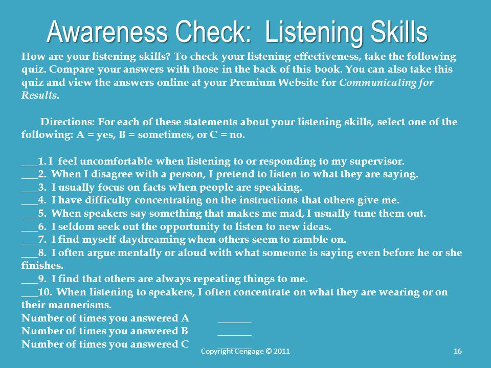 Awareness Check: Listening Skills