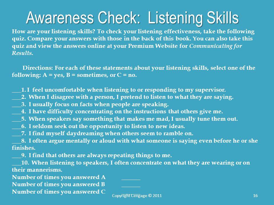 Awareness Check: Listening Skills