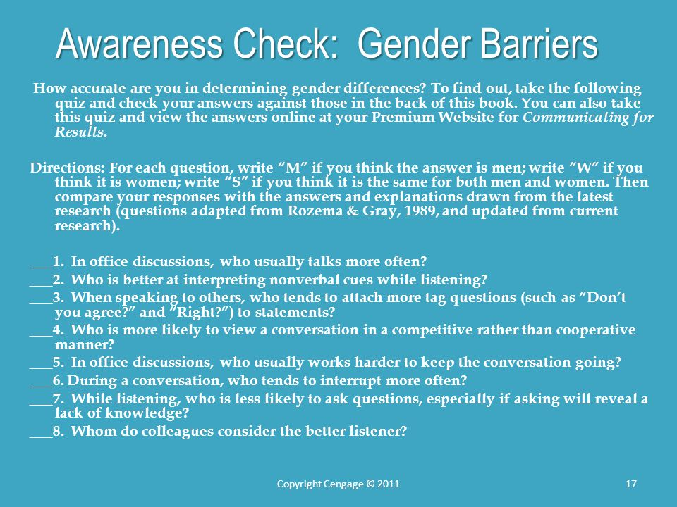 Awareness Check: Gender Barriers