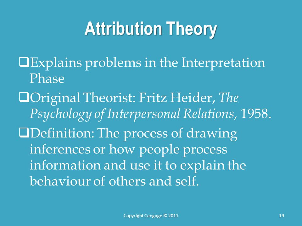 Attribution Theory Explains problems in the Interpretation Phase