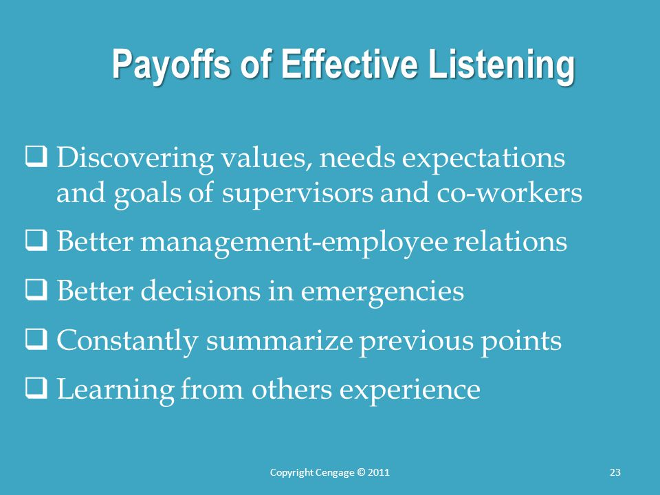 Payoffs of Effective Listening