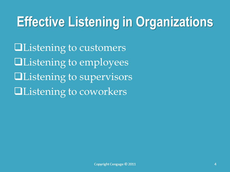 Effective Listening in Organizations